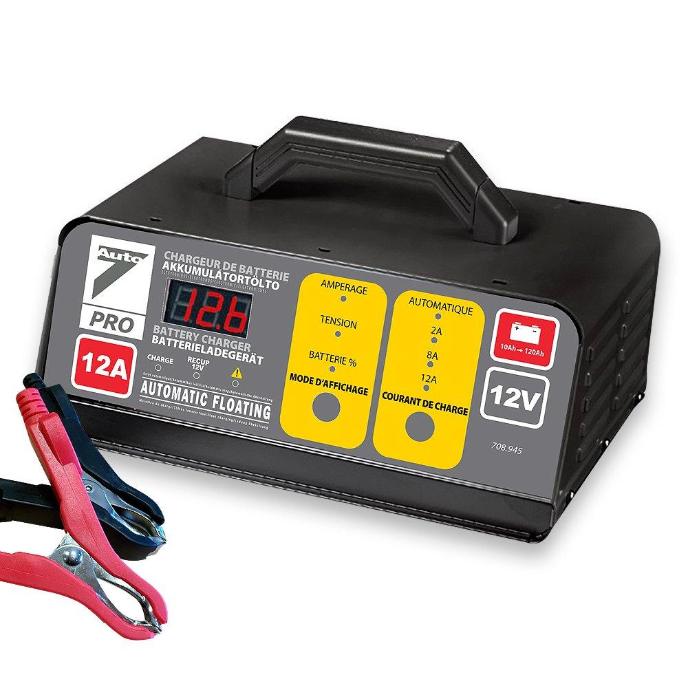 AUTO7 708945 Chargeur de Batterie 100% Automatique 12 A 12 V, Gris/Noir SD