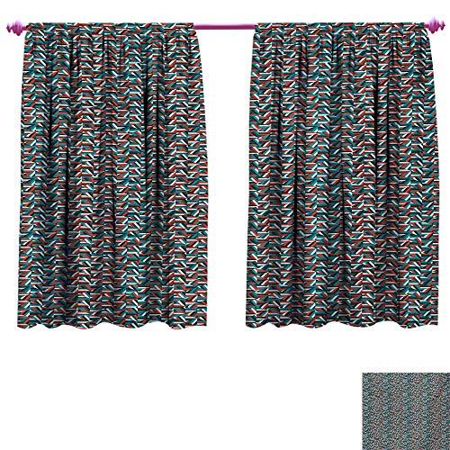 (cobeDecor Geometric Decor Curtains by Random Stripes Triangle Shapes Mosaic Ornament Fractal Look Contemporary Design Patterned Drape for Glass Door W72 x L63 Multicolor)