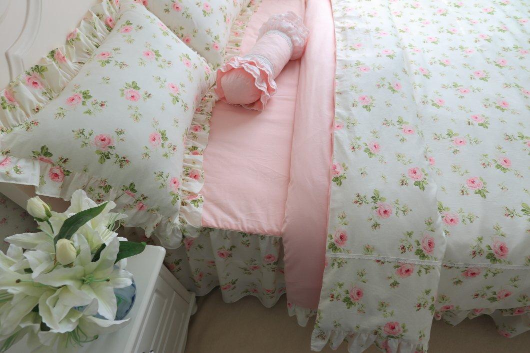 Brandream Romantic Green Pink Rose Bedding Set Girls Kids Bed Set Twin Full Queen King Size