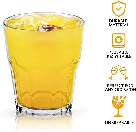 PEYOU Vasos de Agua, 25 cl Vasos Agua Cristal Plástico Duro (Juego de 4), Vasos Acrílico Transparentes [Resistente a Las Roturas,Reutilizable,Lavavajillas] para Té, Café, Whisky y Leche