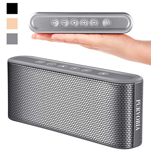 PURVOBIA Ultra Thin Slim Bluetooth Speaker – Bluetooth 5.0 Wireless Speaker Mini Portable Player Deep Bass Stereo Sound | Smart Touch Control w/ 20 Hour Playtime 5000mAh Power Bank Battery (Silver)