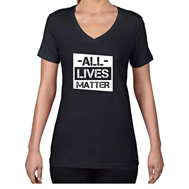 AW Fashions All Lives Matter - Political Protest Womens V-Neck Shirt (Small,