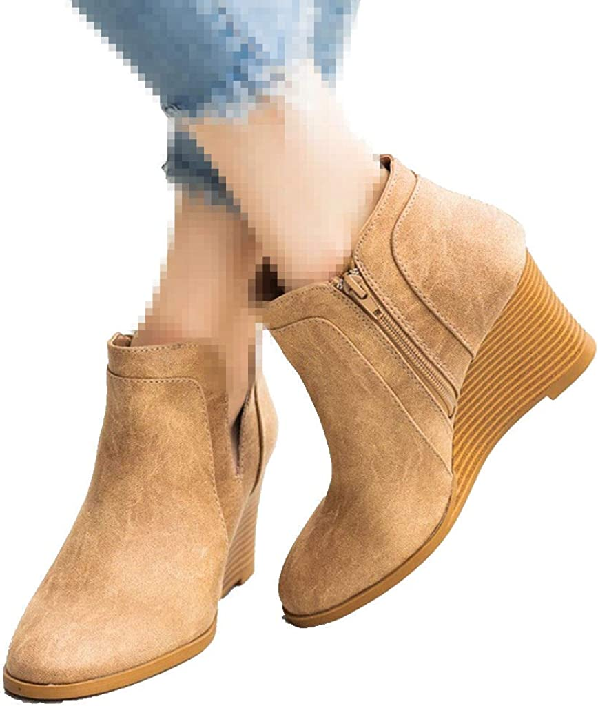 Womens High Heel Platform Chelsea Ankle Boots Tan Suede Retro Shoes Pull On