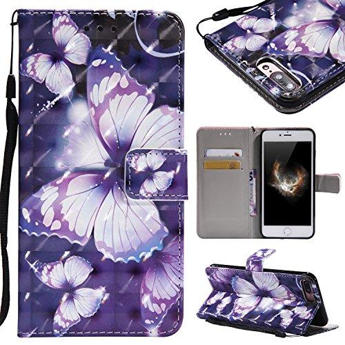 Artfeel iPhone 7 Plus Hülle,iPhone 8 Plus Hülle Wallet Flip Hülle,Stilvoll 3D Farbmalerei Muster Tasche,[Magnetverschluss] [Standfunktion] Kratzfestes Premium PU Bookstyle Leder Brieftasche Schutzhüll Lila Schmetterling