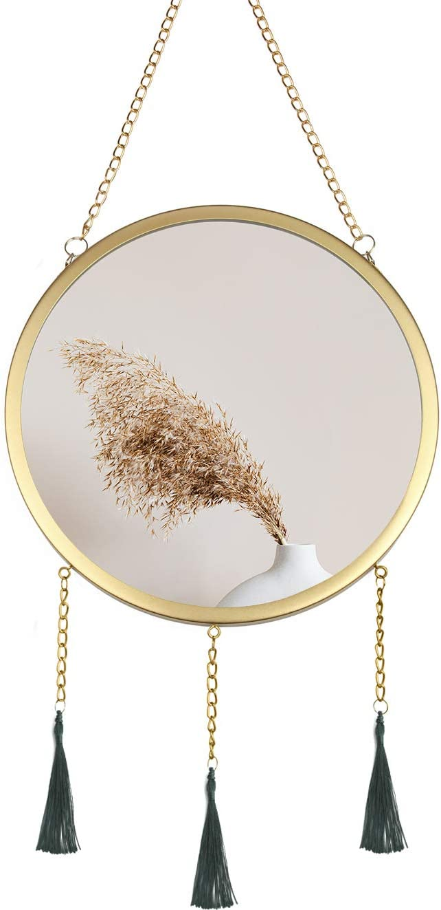 VYNOPA 10.63 Inch Wall Hanging Mirror Décor Boho Decorative Gold Mirror for Home Entryways Living Room Bedroom Apartment Balcony