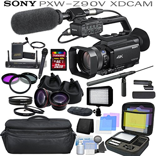 Sony Handheld Microphone - Sony PXW-Z90V Broadcast Hybrid 4K XDCAM Camcorder Pro Bundle with Sony Shotgun Microphone, Wireless Lapel & Handheld Mic System, Wide Angle & Telephoto Lenses, Filters and More.