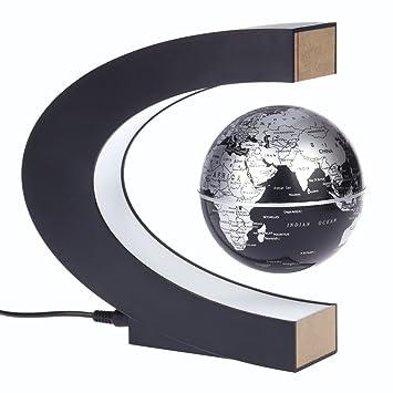 KKmoon C Forme Globe Terrestre Flottant Levitation Magnétique Carte du  Monde Globe Rotating avec Lumières LED fef9676bb916