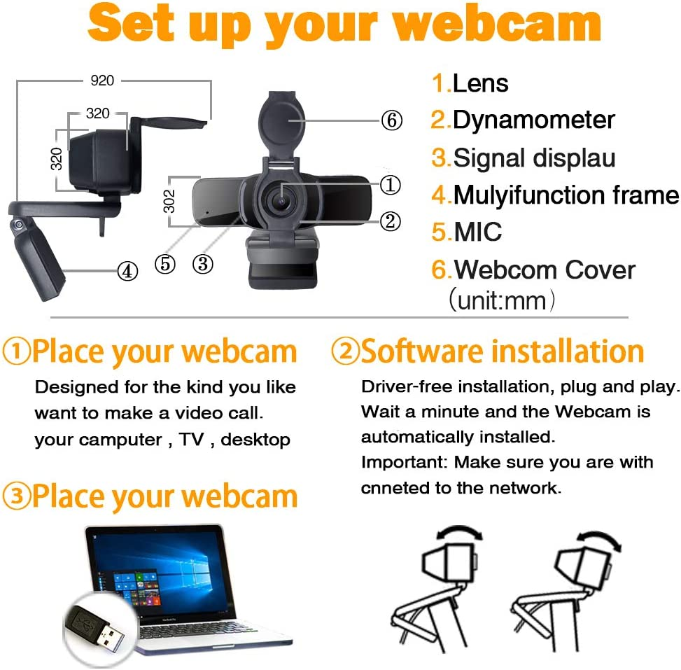 Computer Webcam 1080p with Webcam Cover,LarmTek PC Laptop Camera Built-in Microphone,Widescreen Video Calling and Recording Support for Conference W3,US