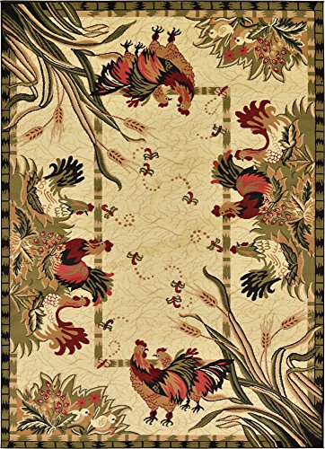 - Unique Loom Barnyard Collection French Country Cottage Roosters Cream Area Rug (7' 0 x 10' 0)