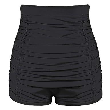 e3240e569f Hilor Women's Retro Ultra High Waisted Swim Bottom Boy Leg Tankini Shorts  Ruched Swimwear Briefs: Amazon.co.uk: Clothing