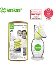 Haakaa Breast Pump Manual Breast Pump Milk Pump Milk Saver with Suction Base and Flower Stopper Combo 100% Food Grade Silicone BPA Free (5.4oz/150ml) (White)