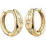 Fettero Huggie Earrings Gold Hoop Diamond Cubic Zirconia Open Star Tassel Dangle Charm Drop Sleeper 14K Gold Plated…
