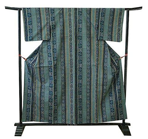 トレッド懺悔適用する博多着物市場 きものしらゆり 裄65.6cm 単衣 幾何学柄 縞柄 紬着尺 正絹 仕立上り バチ衿 152cm~158cm