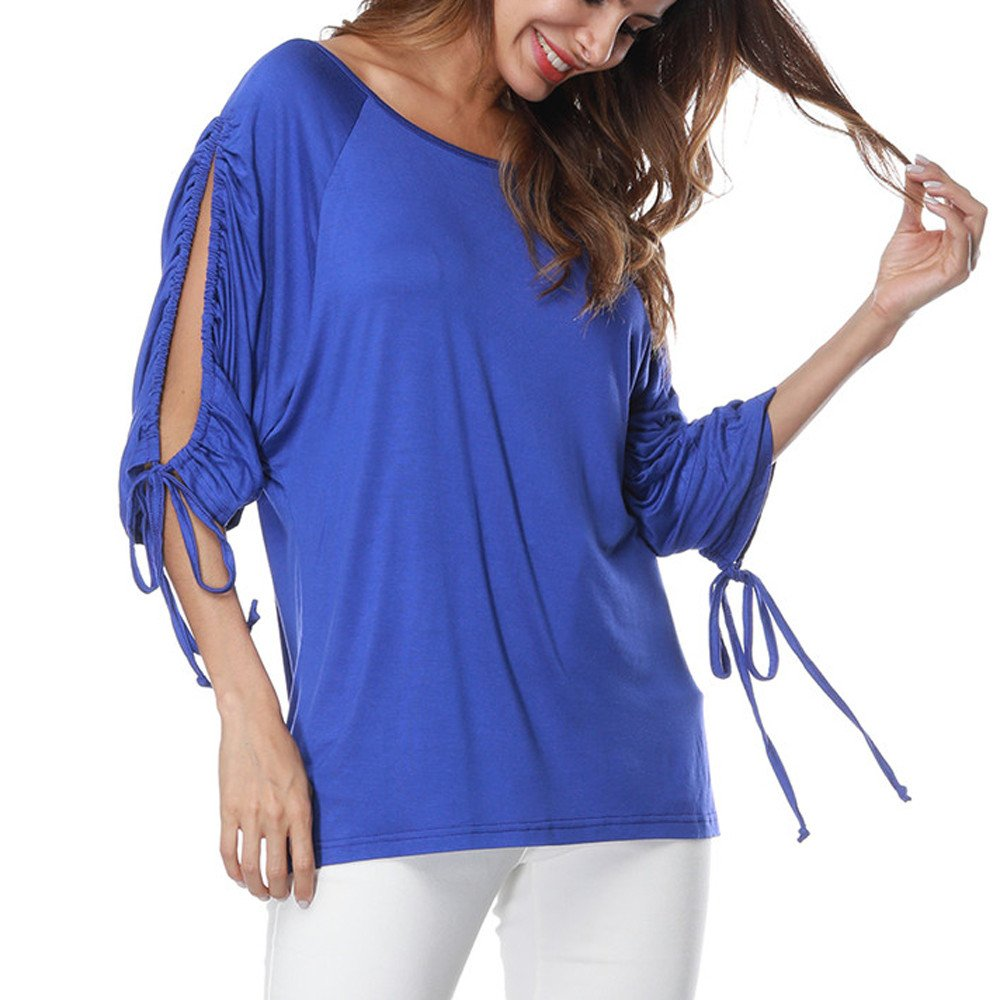 Women 3/4 Sleeve Cold Shoulder O-Neck Bandage Half Sleeve Pure Color Loose T-Shirt Tops Blouse