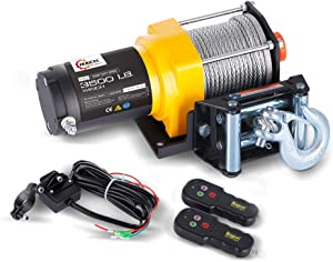 RUGCEL WINCH Waterproof IP68 Electric Winch with Hawse Fairlead, Steel Wire Rope, 1 Wired Handle and 2 Wireless Remote (3500 lb.Load Capacity)