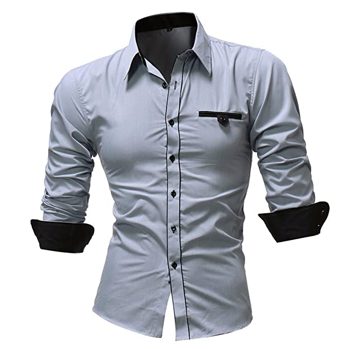 WUAI Clearance Mens Regular-Fit Slim Fashion Business Solid Color Casual Long Sleeve Shirt at Amazon Mens Clothing store: