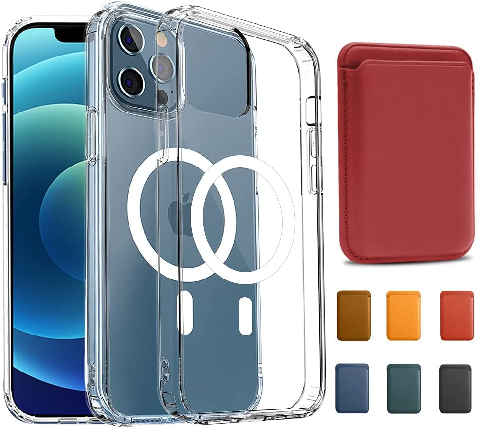 KIKET Magnetic Clear Case[1x Magnetic Red Leather Wallet Card Holder] Designed for iPhone 12/12 Pro Case[Anti-Yellowing] [Mil-Grade Drop Tested] Compatible with All MagSafe Accessories 6.1'' 2021