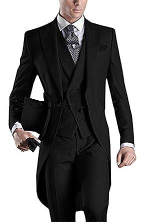 a606664583b9 YSMO Men's Slim Fit 3 Piece Tailcoat One Button Suit Blazer Jacket & Vest &  Trousers