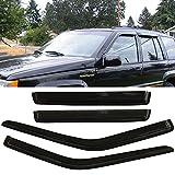 95 jeep grand cherokee parts - Window Visor fits 1993-1998 Jeep Grand Cherokee | Slim Style Acrylic Smoke Tinted & Semi-transparent Sun Rain Shade Guard Wind Vent Air Deflector by IKON MOTORSPORTS | 1994 1995 1996 1997