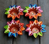 Multi-Colored Handmade Earthen Clay Terracotta Decorative Diyas Oil Lamps for Pooja Diwali Puja Set of 2