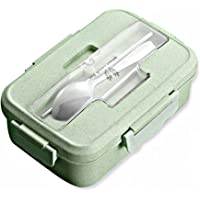 Bento Box avec 3 compartiments, 1 000 ml Boîte à repas avec couverts, sans BPA, étanche, passe au micro-ondes pour adultes et enfants, 22,07 x 14 x 6,7 cm