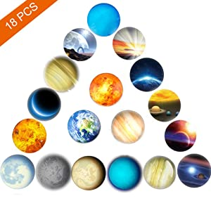18pcs Refrigerator Magnets,Beautiful Glass Planetary Fridge Magnets,1.18 inches Diameter Round Fridge Stickers,Practical Office Magnets,Calendar Magnet,Whiteboard Magnets,Prefect Decorative