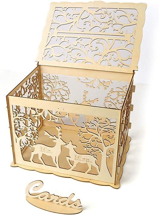 SDGDFXCHN Caja de tarjeta de boda de bricolaje con cerradura Caja ...