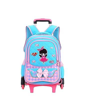BESBOMIG Linda Rolling Backpack Bowknot Mochila Escolar para Chicas - Ligero Mochila con Ruedas Desmontable Impermeable Gran Capacidad: Amazon.es: Ropa y ...