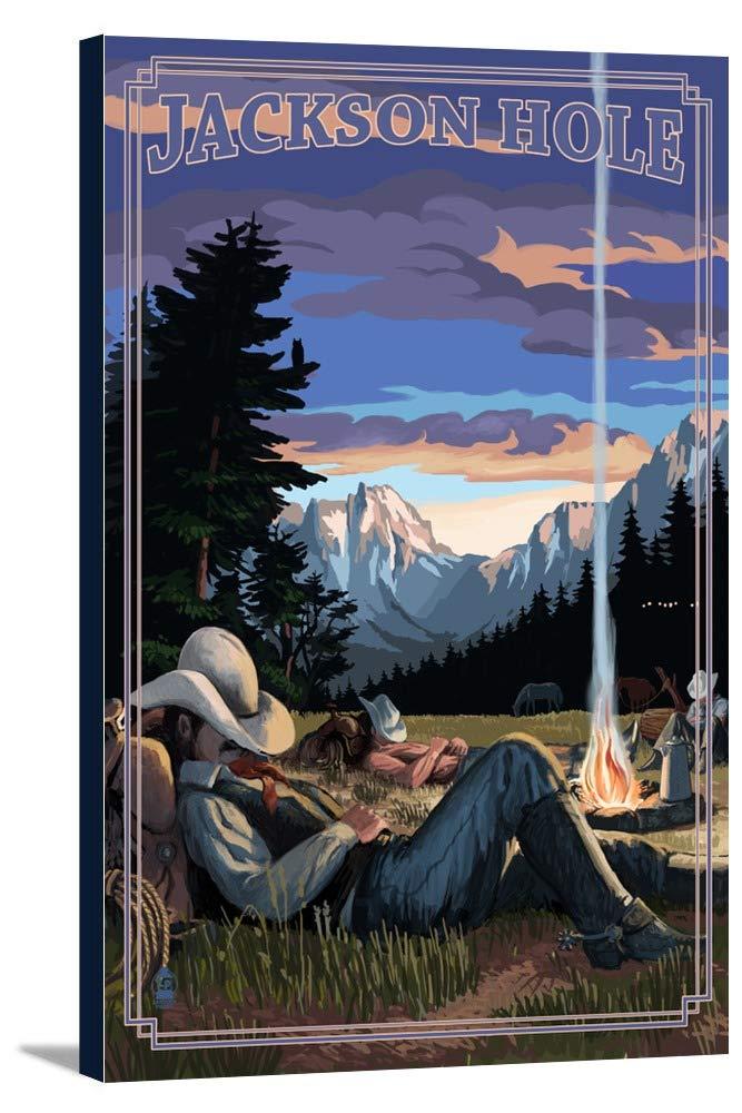 ジャクソン穴、ワイオミング州 – カウボーイキャンプ夜シーン 24 x 36 Gallery Canvas LANT-3P-SC-48358-24x36 24 x 36 Gallery Canvas  B0184AH4VU