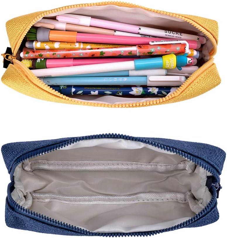 iSuperb Estuche Escolar Pequeña Bolsa Pencil Case para Lapices Estudiante Plumier Colegio Pen Pencil Holder Lápiz Bolsa de Lona (Amarillo+azul oscuro): Amazon.es: Oficina y papelería