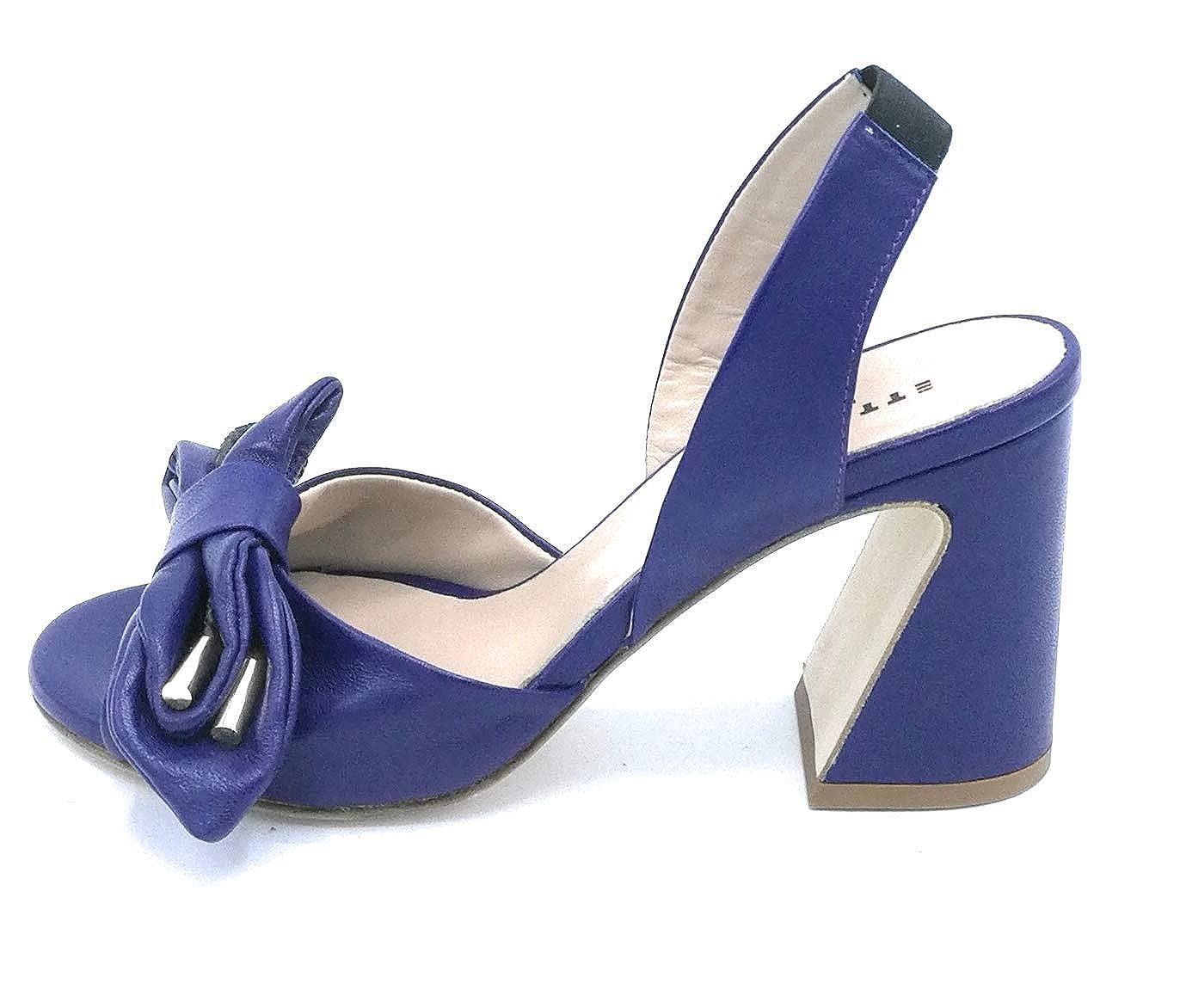 Lami 43001 Sandalo Nappa Blu Fiocco Accessorio Cinturino Elastico Tacco 8 cm - Taglia Scarpa 40 colore Blu Elettrico