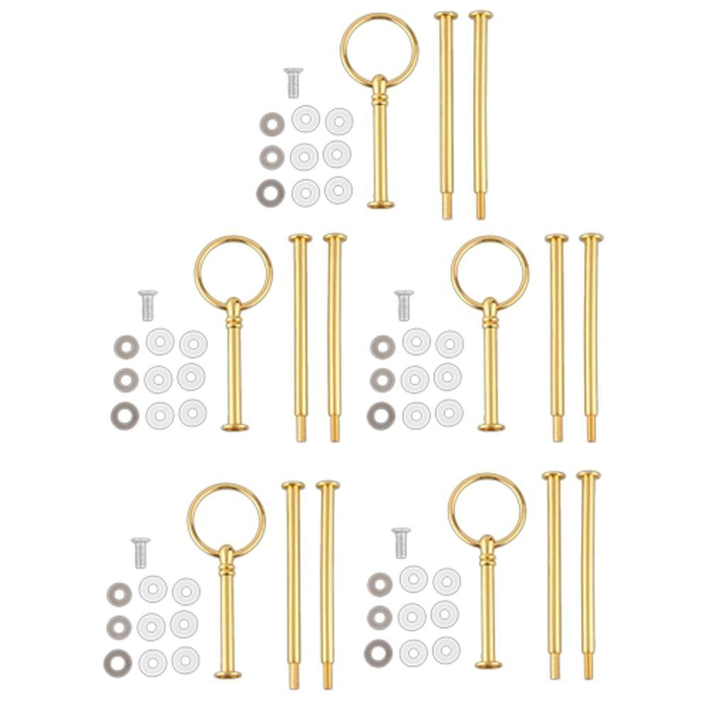 SODIAL(R) 5 Wedding Metal Gold 3 Tier Cake Stand Center Handle Rods Fittings Kit LEPTS1925