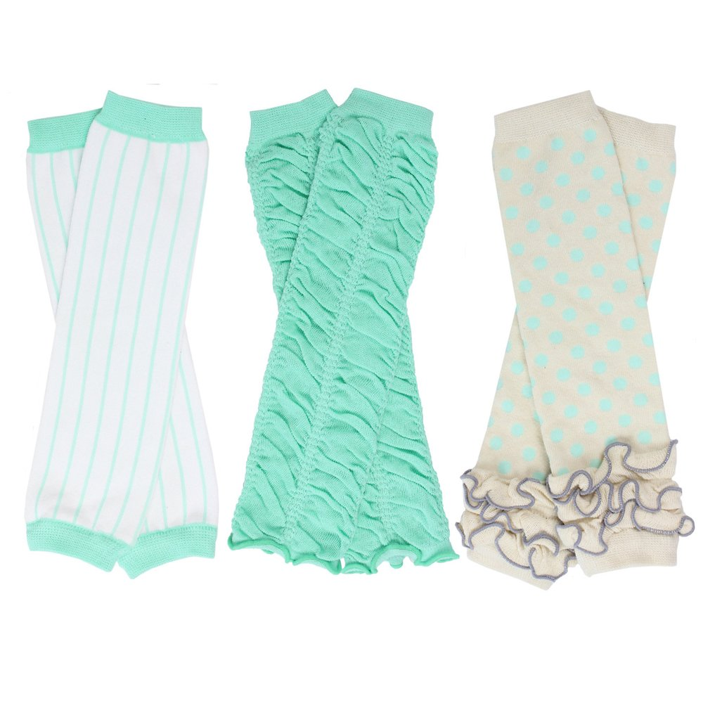 3 Pairs of girls juDanzy baby Leg Warmers for newborn, infant, toddler, child (One Size (10 pounds to 10+ years), Babycake, Aqua, Dazzle)