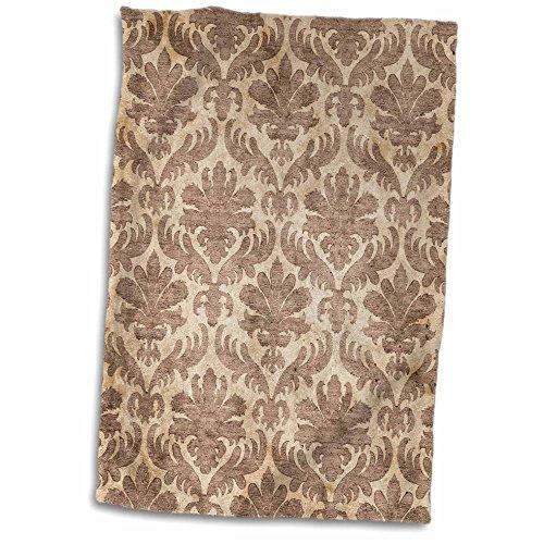 3dRose TDSwhite - Patterns Designs - Brown Damask Floral Design - 15x22 Hand Towel (twl_285228_1) ()