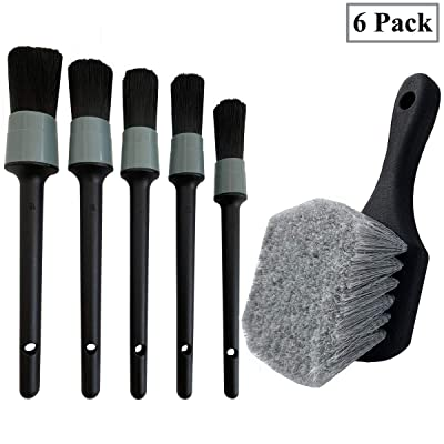 LucklyJone Wheel & Tire Brush, Soft Bristle Car Wash Brush, 5 Different Sizes Detailing Brush, Cleans Dirty Tires & Releases Dirt and Road Grime, Short Handle for Easy Scrubbing: Automotive
