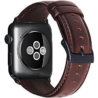 Correa de Repuesto para Apple Watch 38 mm 42 mm de Piel auténtica para Iwatch Band con Conectores de Metal Inoxidable para Apple Watch Series 3/2/1