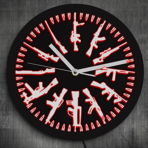 The Geeky Days Gun And Bullets LED Neon Sign Wall Clock Vintage Different Guns Design Illuminated Wall Clock Color Change With Remote Control - Edge Neon Signs