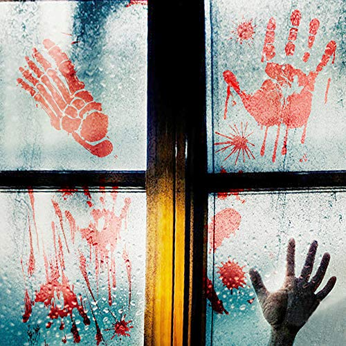 YING SHENG Halloween Party Decorations, 44PCS Bloody Window Clings, Self-Adhesive Horror Door Handprints Sticker Floor Footprints Decal for Zombie Walking Dead Party, Halloween, Haunted House