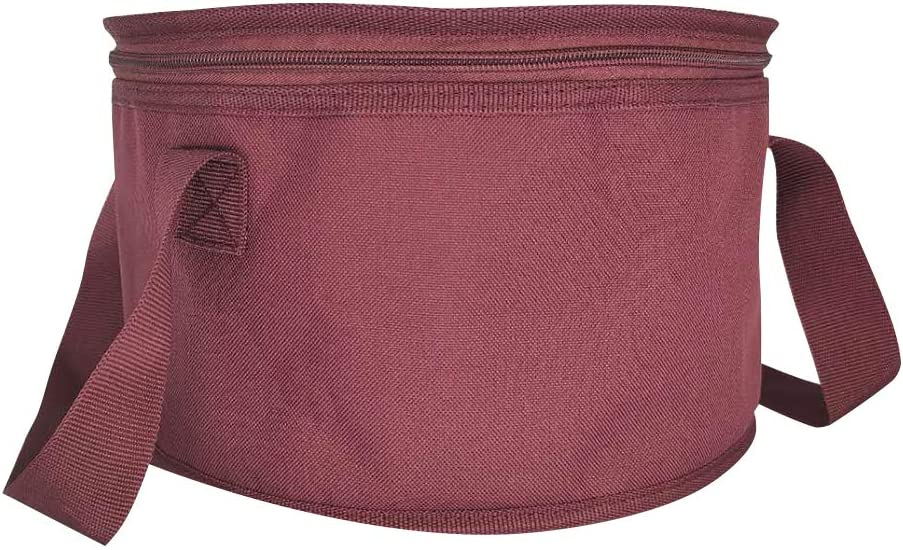 Set of 2 Polyester Fabric Round Thermal Casserole Carrier,Reusable Insulated Lunch Cooler Bag,Pie Carrier for Potluck,Picnics,Collapsible Cooler for Hot/Cold Food,11X7 inch (Red Color)