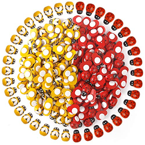 200pcs Wooden Bees Ladybugs, YGDZ 100pcs Tiny Wooden Bumble Bees & 100pcs Flatback Painted Ladybugs Embellishments for Crafts Scrapbooking DIY Decoration (Wood Ladybug)