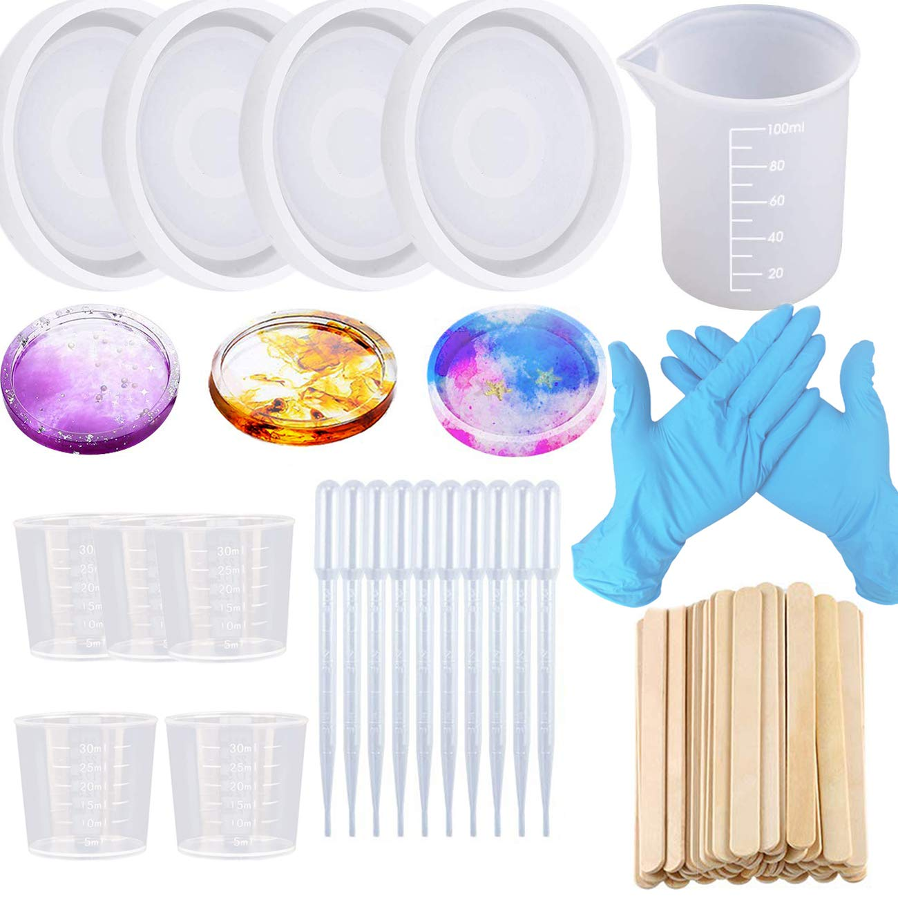 Clear Epoxy Molds for Casting with Resin Silicone Round Coaster Molds Concrete Cement and Polymer Clay Buytra Silicone Resin Mold with 81pcs Resin Mixing Kit