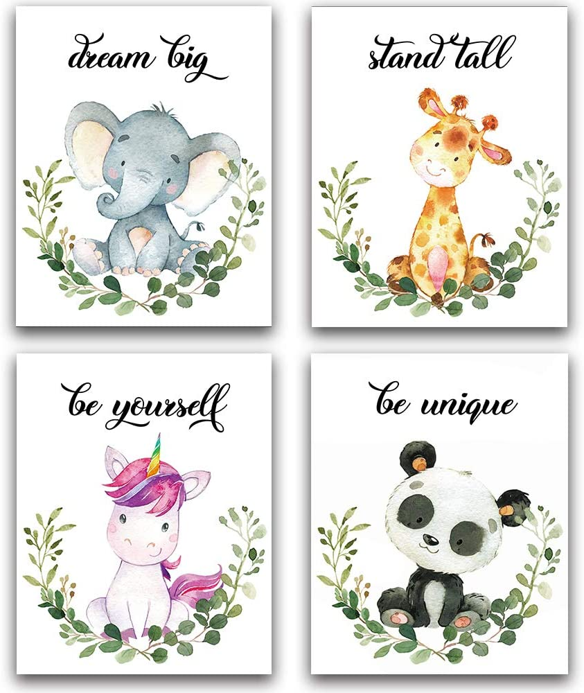 "Lovely Animals Inspirational Words Woodland Crown Art Print Set of 4 (8""X10""), Motivational Quote Phrases Wall Art Poster for Nursery or Baby Kids Boys & Girls Room Home Decor, No Frame (Forest)"