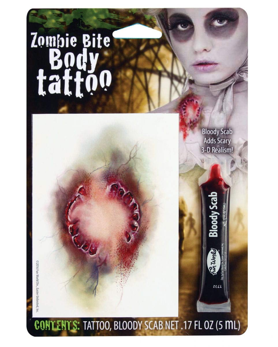 Horror-Shop Tatuaje mordedura Zombi con Sangre Falsa: Amazon.es ...