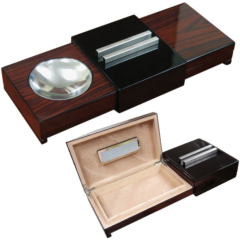 Prestige Import Group - Sliding Ashtray Humidor - Brazilian Wood & Black Lacquer Finish by Prestige Import Group
