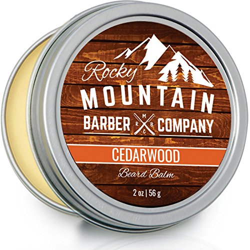(Beard Balm - Rocky Mountain Barber - 100% Natural - Premium Wax Blend with Cedarwood Scent, Nutrient Rich Bees Wax, Jojoba, Tea Tree, Coconut Oil)