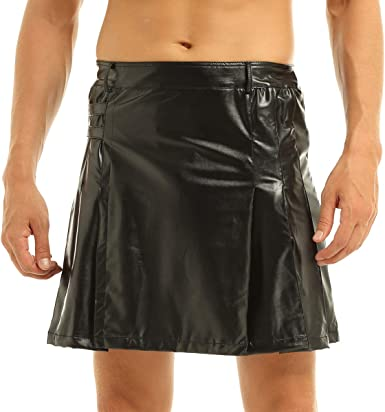 Men Black or Brown Leather Gladiator Pleated Utility Kilt FLAT FRONT
