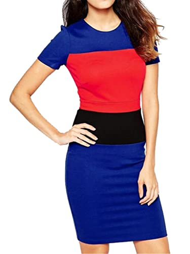 Blooming Jelly Women's Modern Colorblock Bodycon Optical Illusion Business Dresses Workwear
