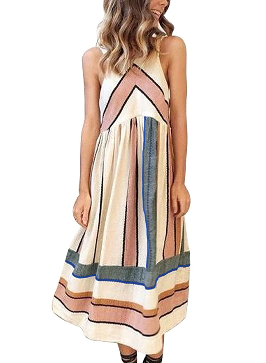 Asvivid Women's Sleeveless Halter Neck Striped Midi Dress With Pockets by Asvivid