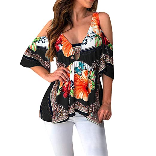 512f01c68a090a CofeeMO Ladies Fashion V-Neck Ethnic Tops for Women