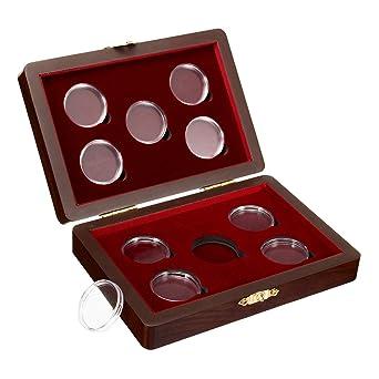 RanDal Caja De Madera Con Estuche Ajustable Para Cajas De Madera Para 10 Monedas Ngc Pcgs: Amazon.es: Industria, empresas y ciencia